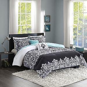 Intelligent Design Leona Comforter Set Full/Queen Size - Black, Aqua, Damask – 5 Piece Bed Sets – Peach Skin Fabric Teen Bedding for Girls Bedroom