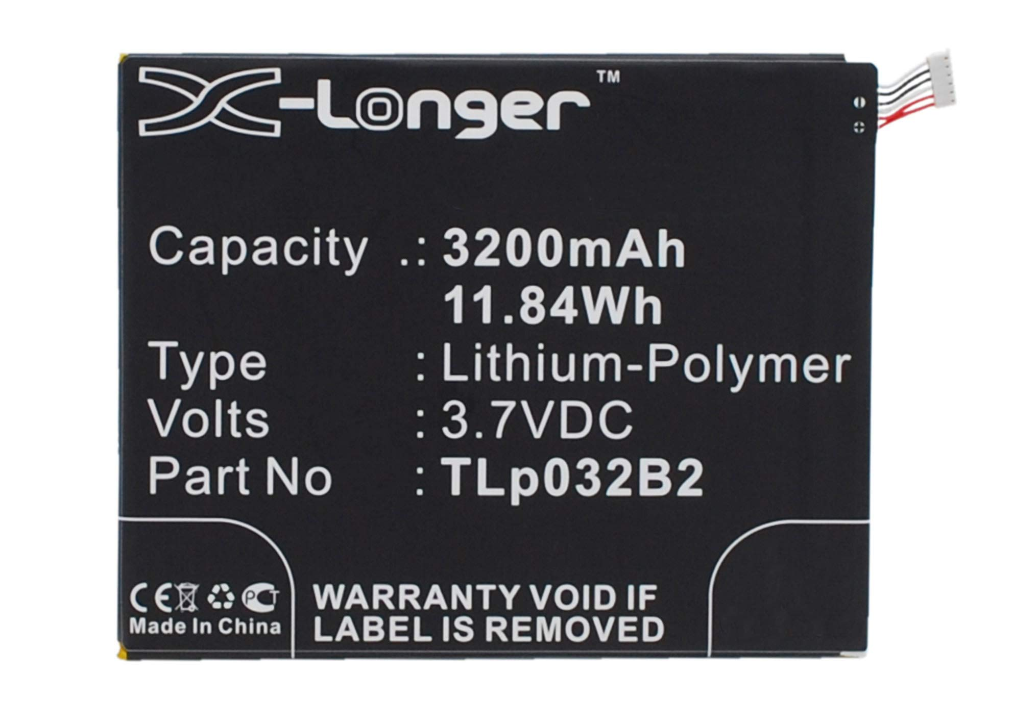 Synergy Digital Battery Compatible with Alcatel One Touch Pixi 3 8.0 3G Tablet Battery (Li-Pol, 3.7V, 3200 mAh) - Repl. Alcatel TLp032B2 Battery