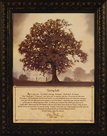Living Life By Bonnie Mohr 15x19 Life Is A Journey Inspirational Quote Tree  Framed Art Print