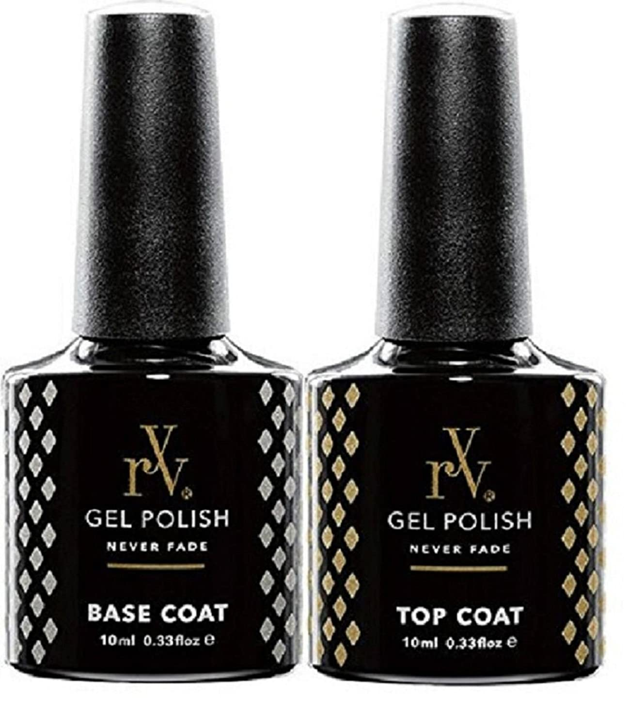 RYV Gel Top and Base Coat | 10ml | Dries under UV or LED Lamps | Works With Any Brand Colours RYV_T_B