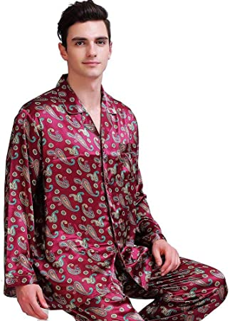 BENGKUI Pijamas para Hombre,Hombres Seda Satinado Pijama ...