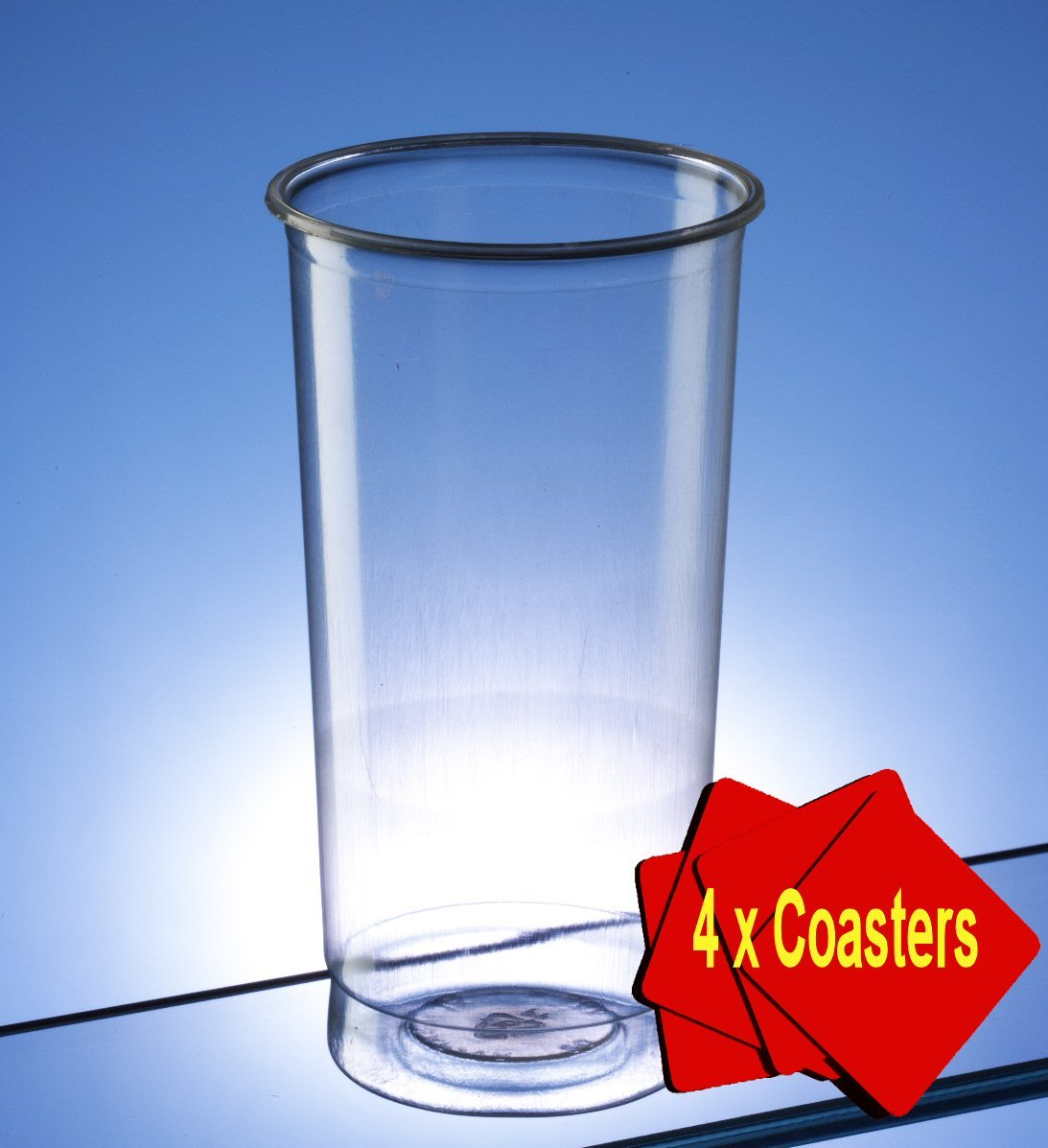 Plastic Disposable Pimms Glasses 340ml (12 oz) Clear. Offer Pack of 50 glasses with 4 x AIOS drinks mats in box Regalzone
