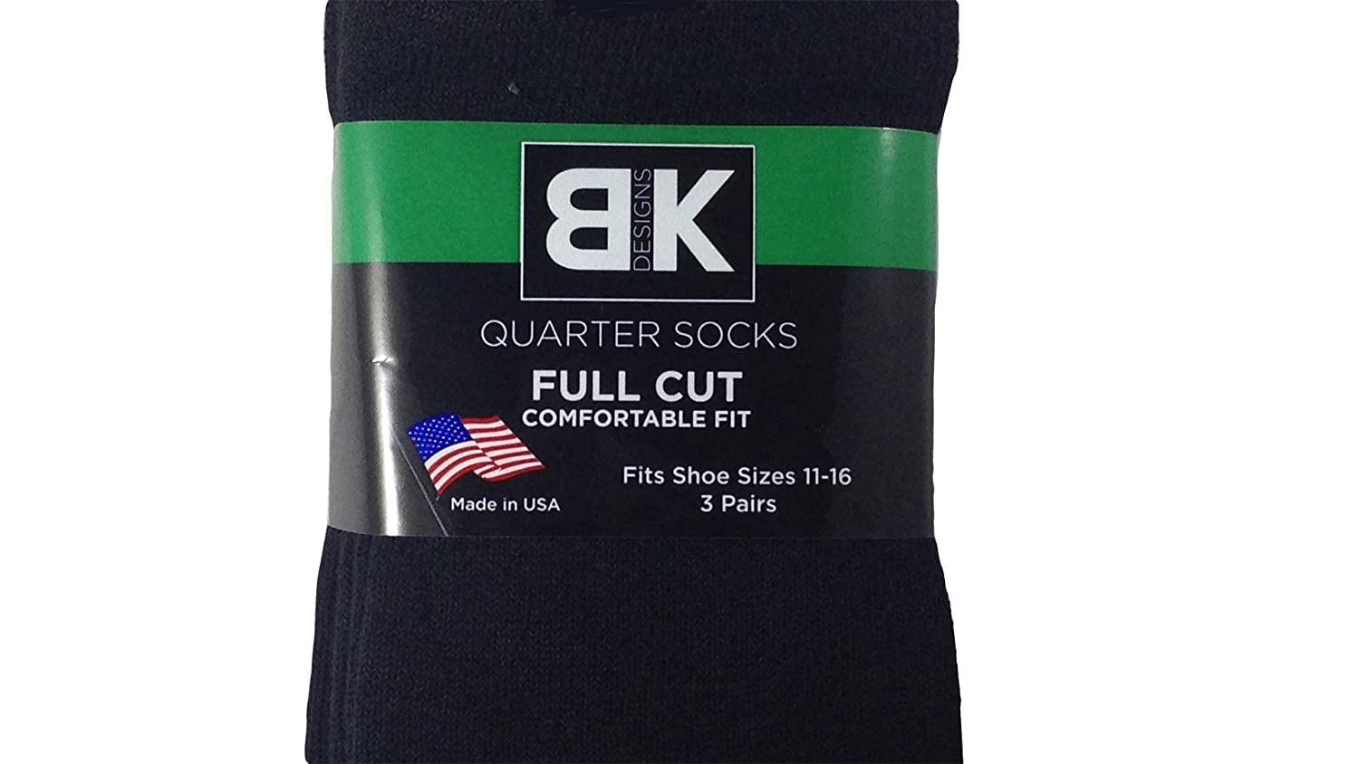 KB Design 3-Pack of Quarter Top Sock XL Sizes 11-16