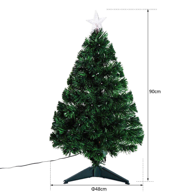 Homcom 3ft 4ft 5ft Green Fibre Optic Artificial Christmas Tree Indoor Xmas Led Tree Multi Colour 3ft 90cm