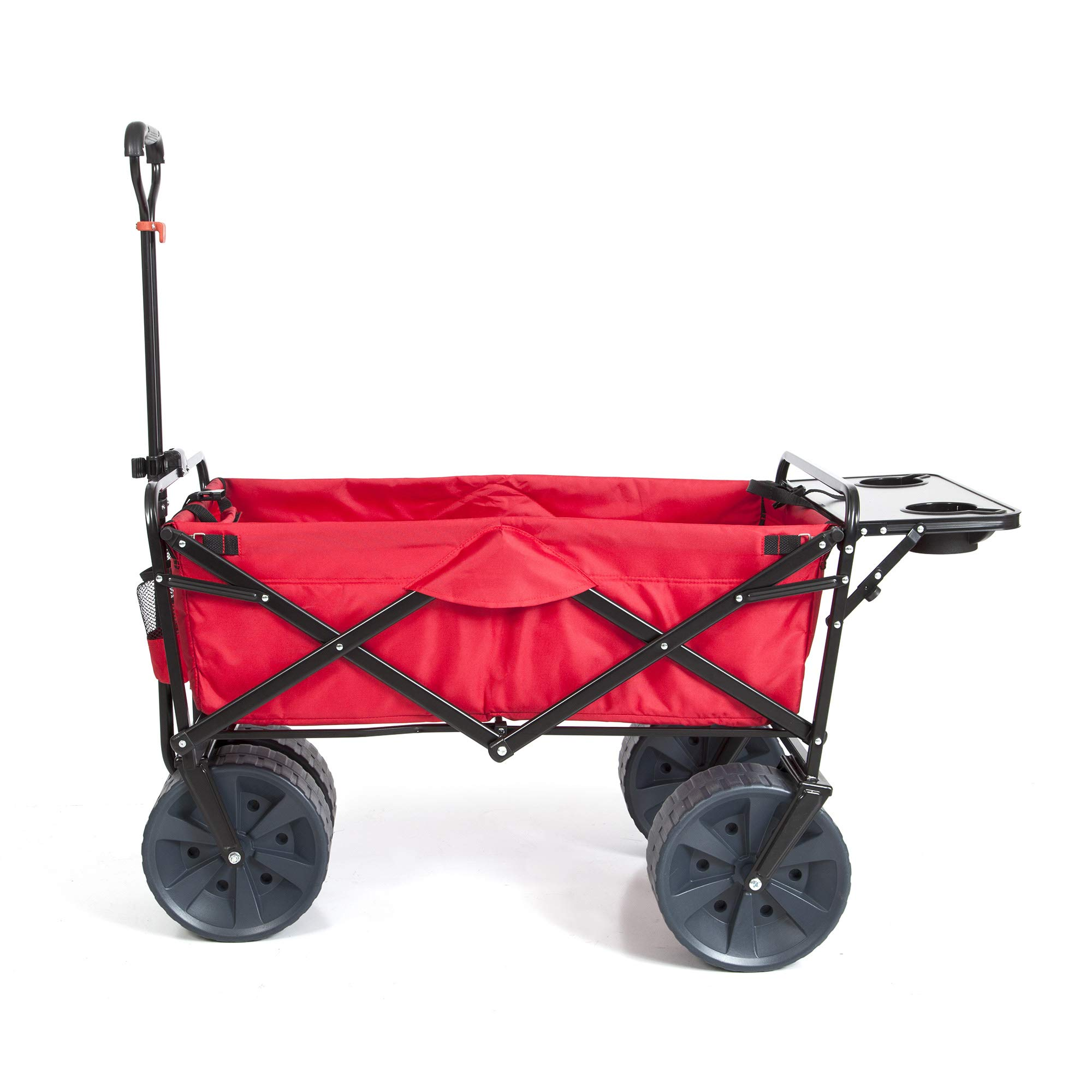 Mac Sports Heavy Duty Collapsible Folding All Terrain Utility Beach Wagon Cart with Table (Red/Black)