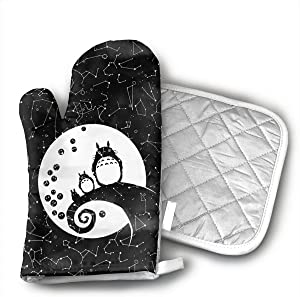 TMVFPYR Nightmare Before Christmas Studio Ghibli Oven Mitts, Non-Slip Silicone Oven Mitts, Extra Long Kitchen Mitts, Heat Resistant to 500Fahrenheit Degrees Kitchen Oven Gloves