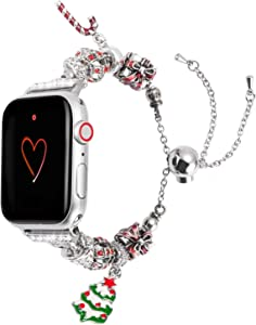 Wearlizer Compatible with Apple Watch Band 42mm 44mm Womens Christmas Elements for iWatch Handmade Wristband Bracelet, Christmas-Tree-Crutch-Gifts Box Replacement Metal Strap Series 5 4 3 2 1
