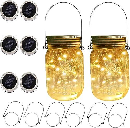 6 x Solar Mason Jar Lights and Handle 3 Fairy Sticker,6 Pack 30 Mason Jar Fairy Lights, Decor Idea for Patio Garden Solar Fairy Laterns Table Lights No Jars