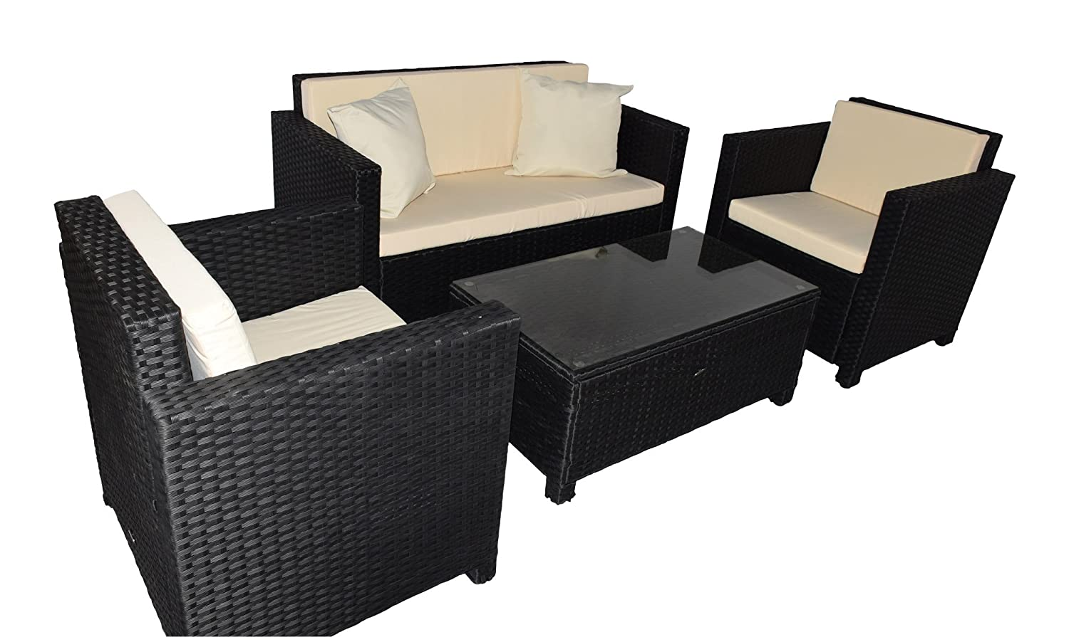 gartenm bel gartenset sitzgruppe rattan cannes schwarz g nstig bestellen. Black Bedroom Furniture Sets. Home Design Ideas