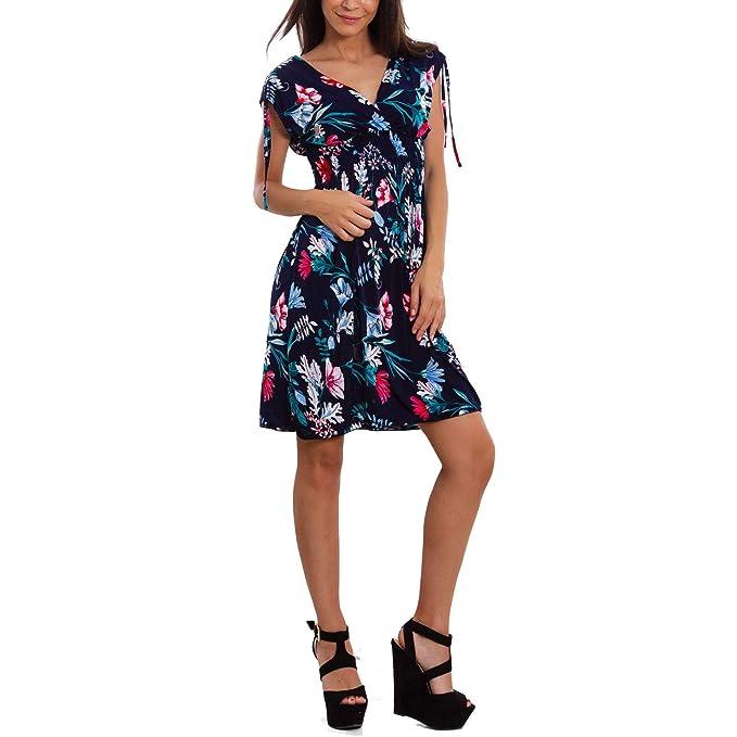 Toocool - Mini abito donna vestito floreale fiori estivo leggero sexy corto  BE-2313  XL XXL 4f537196c9c