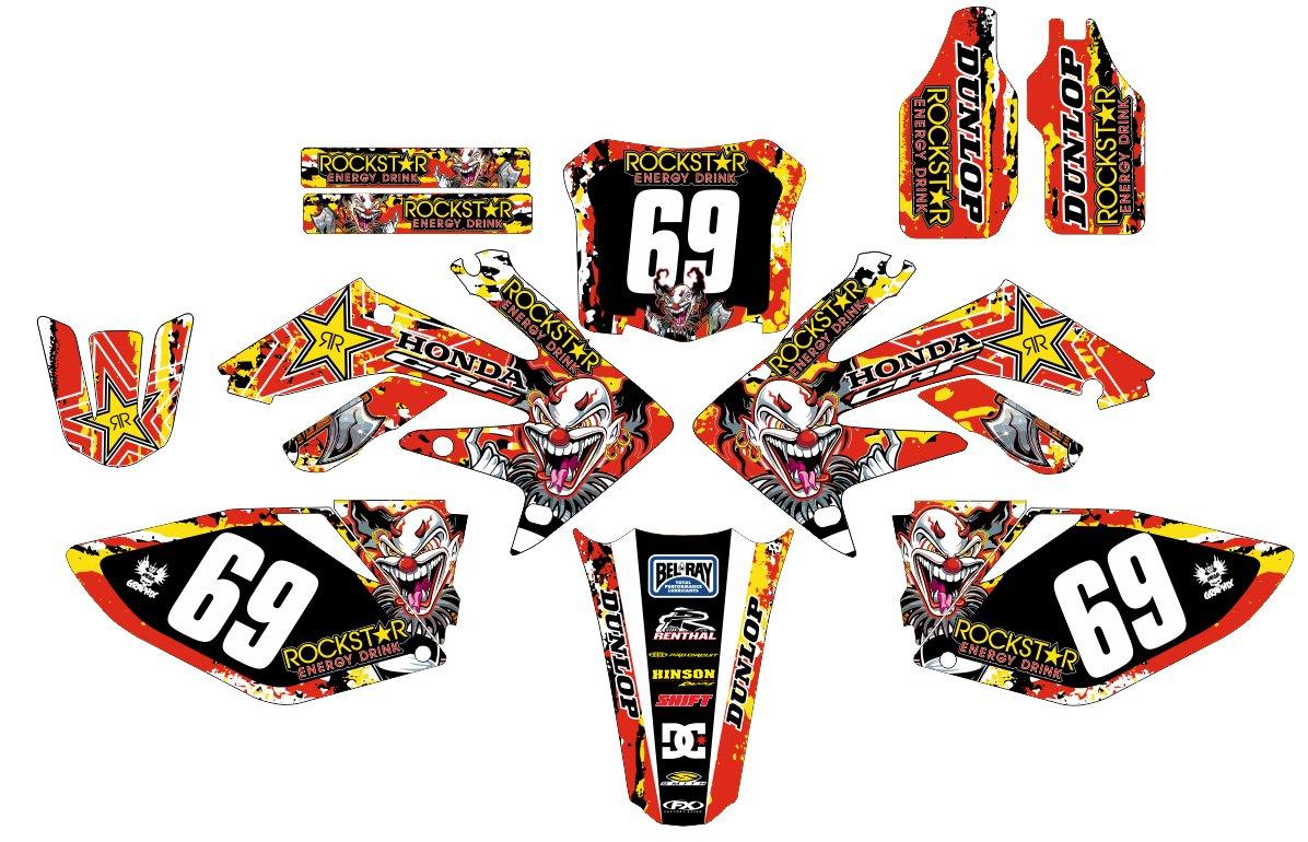 07 08 crf 250r joker clown decal sticker kit in mx vinyl non oem amazon co uk car motorbike