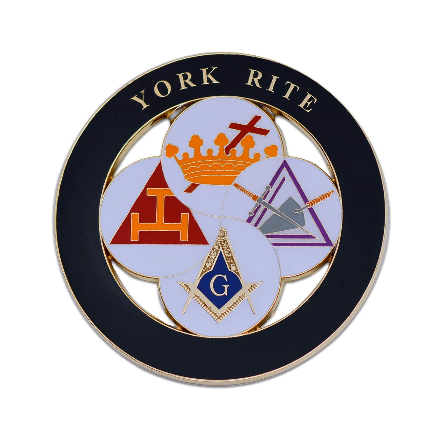 3 Diameter York Rite Royal Arch Templar Cryptic Council Round Black Masonic Auto Emblem