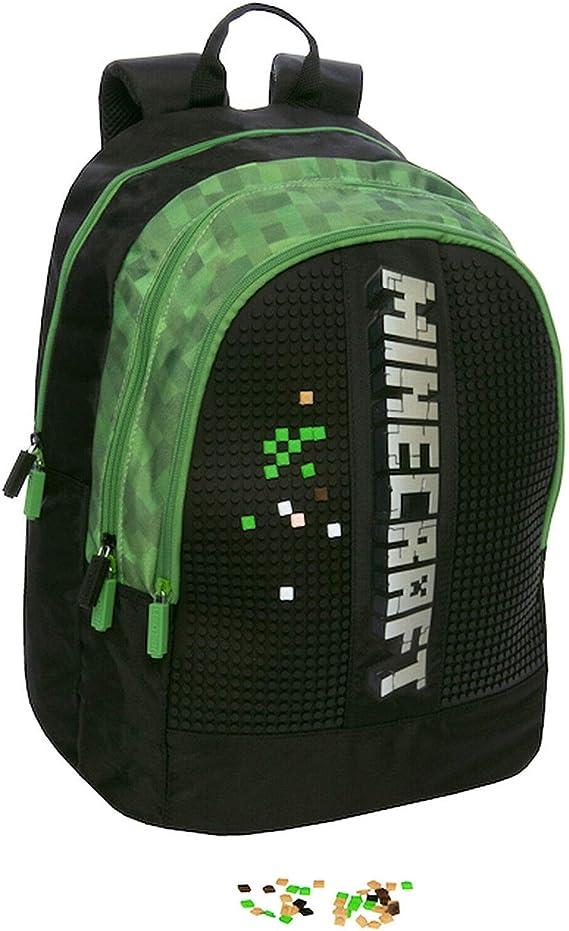 Minecraft - Mochila escolar organizada con 3 cremalleras: Amazon.es: Oficina y papelería