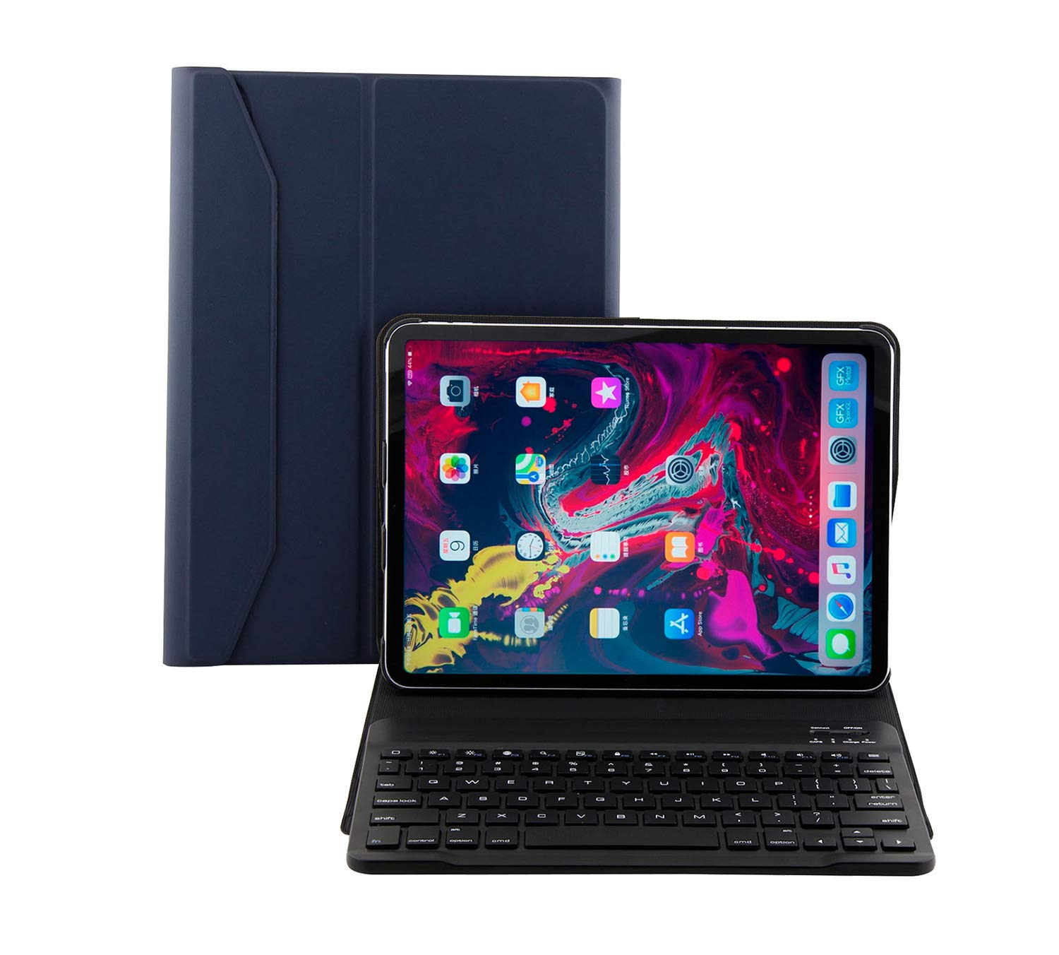 RLTech iPad Pro 11 2018 Keyboard Leather Case, Ultra Slim Flip with Removable Wireless Keyboard Stand Case Cover for Apple iPad Pro 11-inch 2018 Release Tablet (Blue)