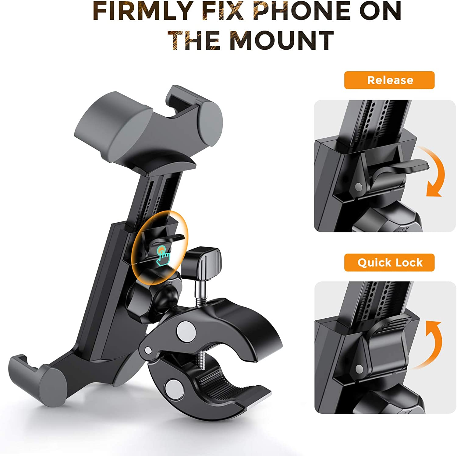 JOYROOM Universal Bike Phone Mount 360 Rotation Anti-Shake Phone Mount Holder for OtterBox Bicycle Motorcycle for Handlebars Compatible with iPhone 12 Pro Max//12 mini//12//11 Pro//XR//XS MAX