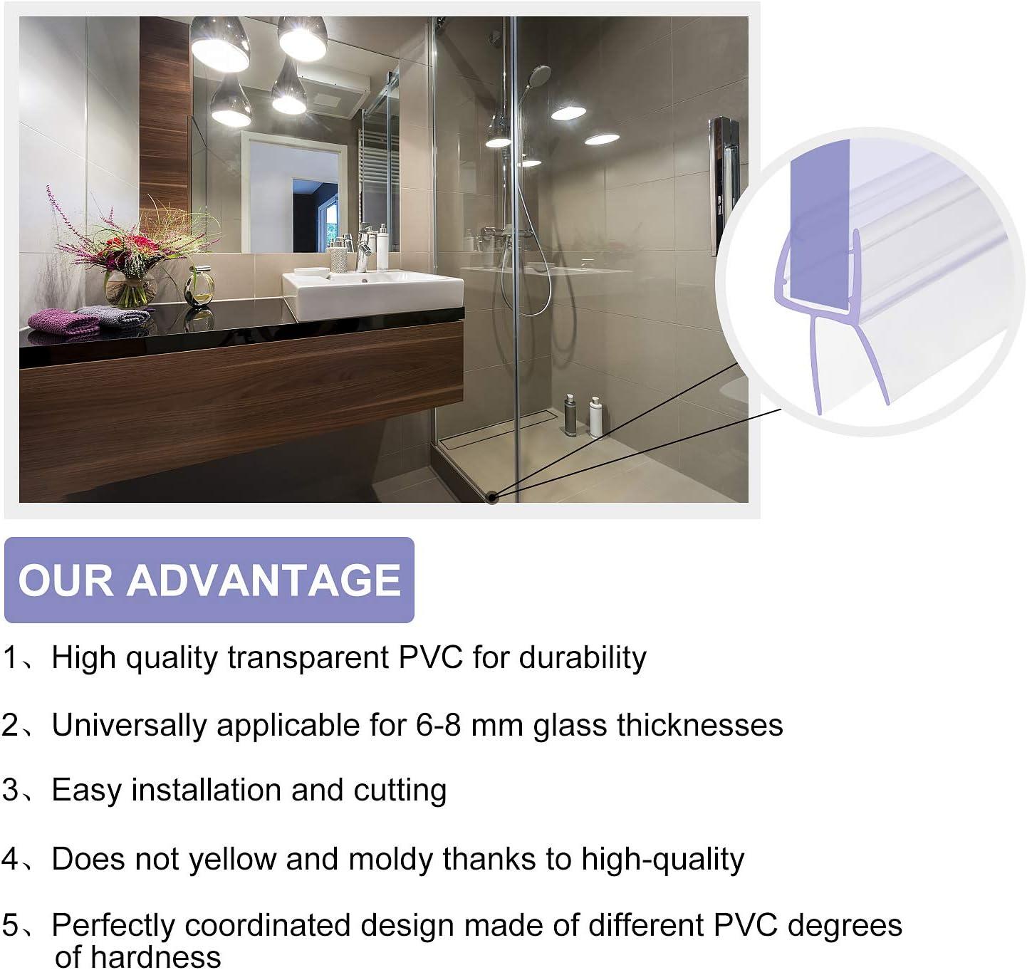 1 m, para vidrio de 6 mm, 7 mm, 8 mm de grosor Junta para ducha