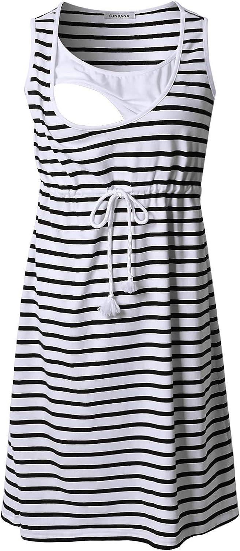 GINKANA Sleeveless Womens Maternity Nursing Dress for Breastfeeding Knee Length Pregnancy Dress