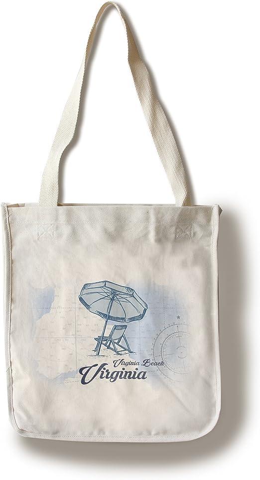 Virginia Beach, Virginia – Silla de playa y sombrilla – azul – Coastal Icon (100% algodón – bolsa reutilizable, refuerzos, fabricado en América): Amazon.es: Hogar