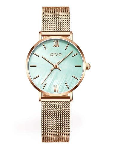 CIVO Relojes para Mujer Minimalista Delgado Acero Inoxidable Impermeable Relojes de Pulsera Señoras Chicas Adolescentes Fresco Moda Diseñador Negocios ...