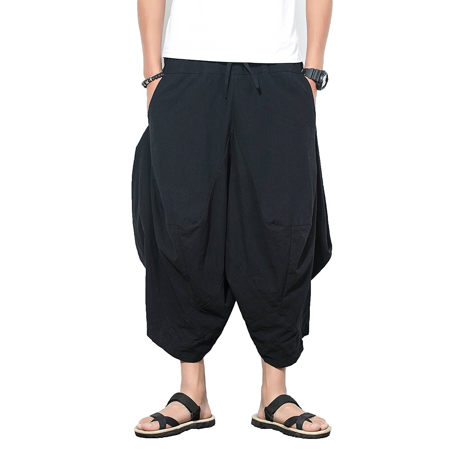 223fd28029a INVACHI Men s Elastic Waist Wide Leg Cotton Harem Baggy Pants Patchwork  Linen Capri Trousers Available XS-4XL at Amazon Men s Clothing store