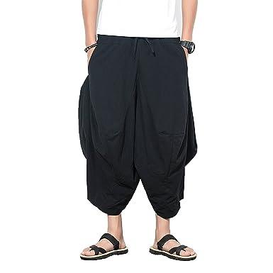 7c1b25b55d62 INVACHI Men s Elastic Waist Wide Leg Cotton Baggy Harem Pants Patchwork  Linen Capri Trousers Available XS