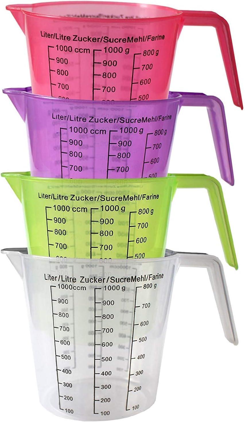 Kurtzy Jarras medidoras plastico (4 Pcs) - 13cm Plástico Libre de BPA Jarras para Medir Liquido, Aceite y Artículos de Hornear con Escala de Gramos y centímetros cúbicos