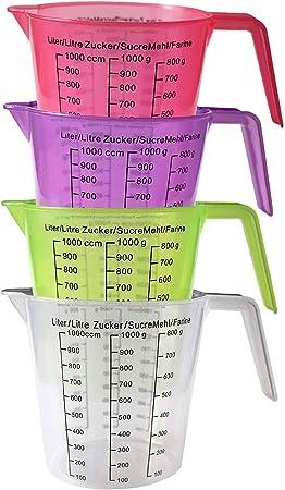 Vert Rose Violet Grammes et Centim/ètres Cubes 13 cm 4 Verres Doseurs en Plastique sans BPA Pot Doseur B/écher Gradu/és Empilables avec Anses Broc Mesure Transparent
