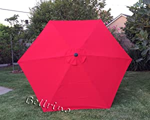 BELLRINO DECOR Replacement RED Strong & Thick Umbrella Canopy for 9ft 6 Ribs Bright Red (Canopy Only)