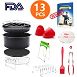 8 inch General Air Fryer Accessories 13 pieces with Recipe Cookbook Compatible with Philips Gowise USA