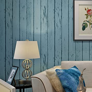 Vliestapete/Blue Östliches Mittelmeer Holz Tapete/Schlafzimmer Wohnzimmer  Tapete/TV Wand Streifen Hintergrundbild