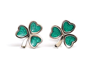 8437350c7 Image Unavailable. Image not available for. Color: Jewelry Shamrock Sterling  Silver Earrings Irish Celtic Green Enamel Studs Made ...