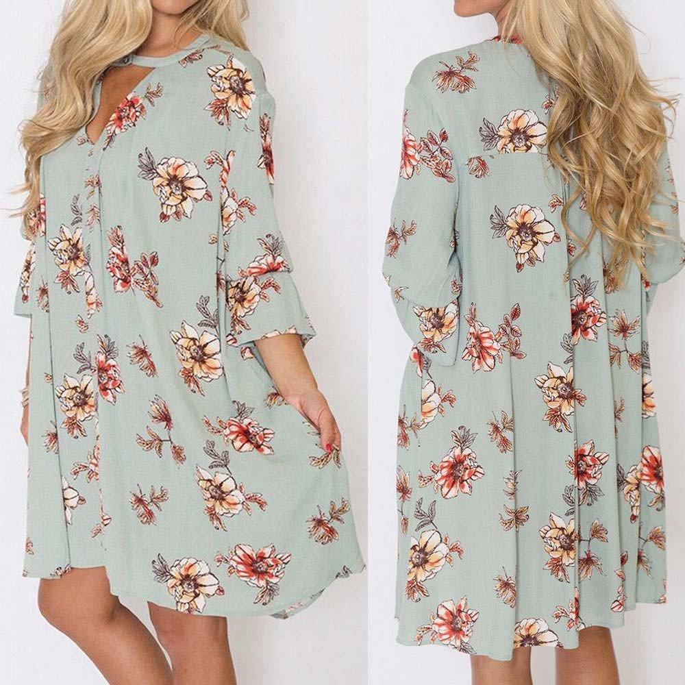 Overmal Womens Fashion Long Sleeve Mini Print Bandage Beach Dress