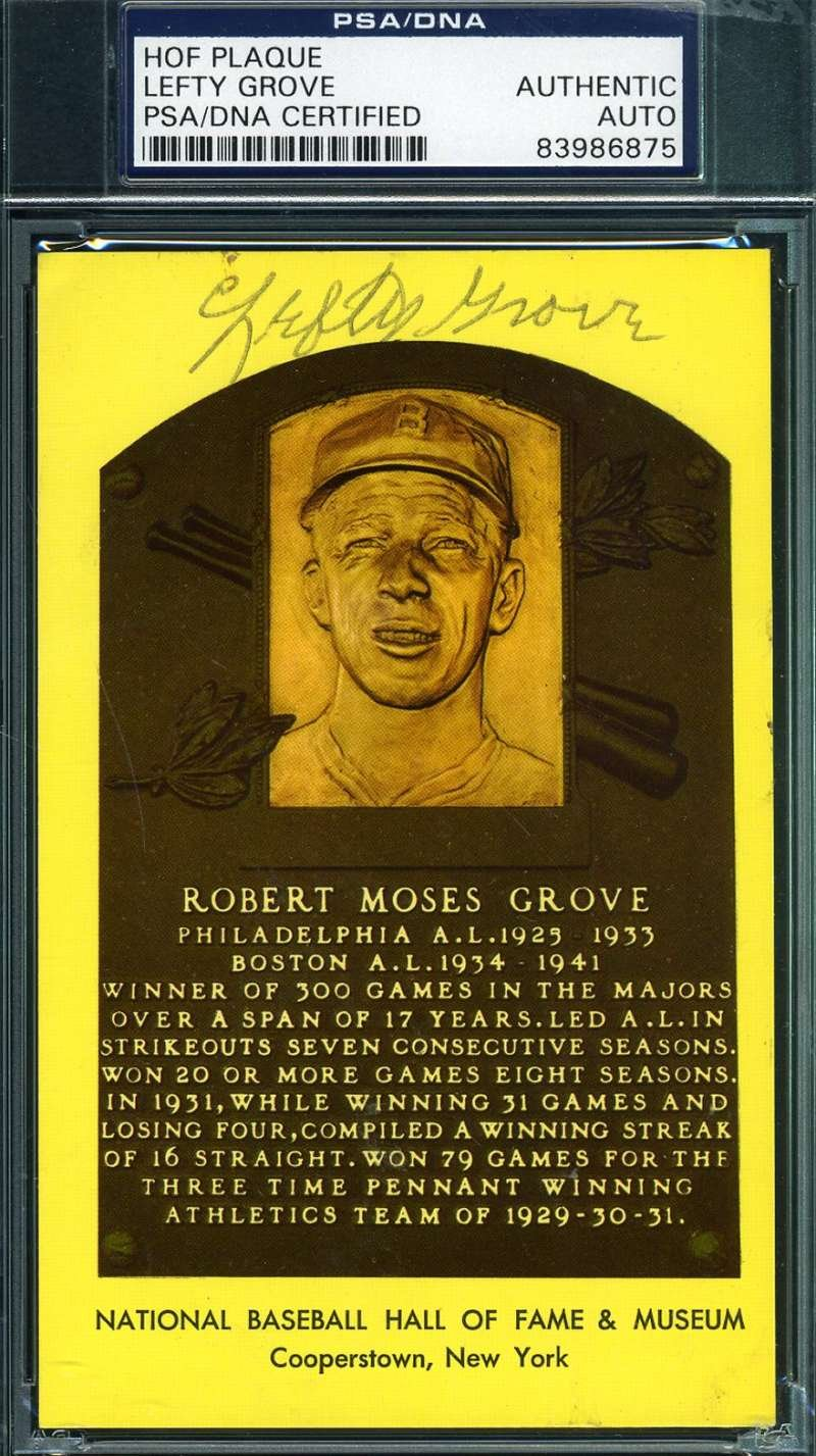 LEFTY GROVE SIGNED GOLD HOF PLAQUE PSA/DNA AUTHENTIC AUTOGRAPH