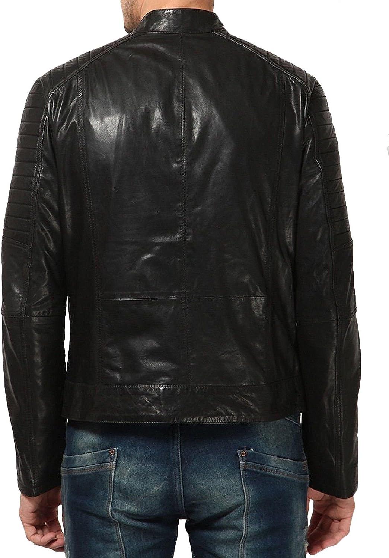 Men Slim Fit Biker Motorcycle Lambskin Leather Jacket Coat Outwear Jackets T1262