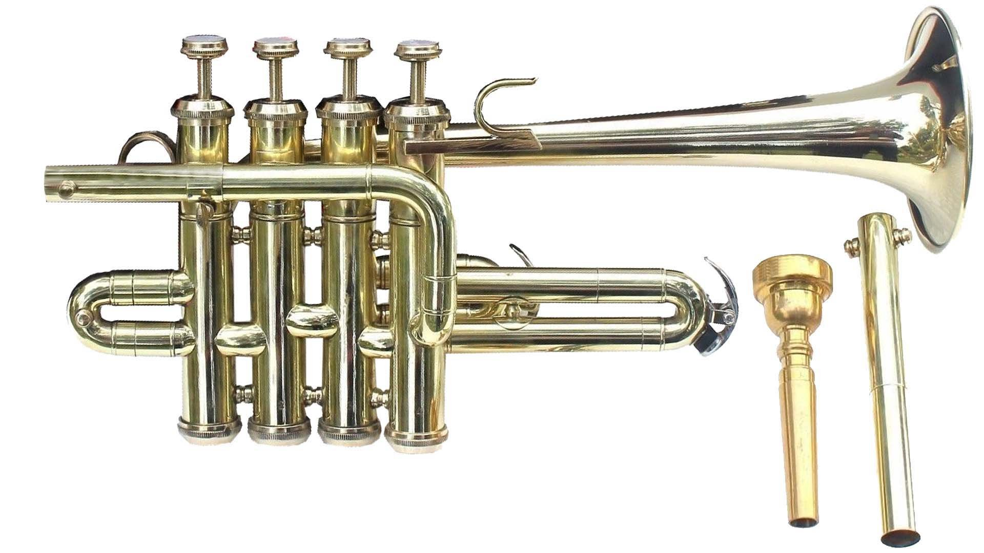 SC EXPORTS Piccolo Trumpet Brass Finish Picollo Bb/A Pitch W/Case-Mp Gold by SCEXPORTS
