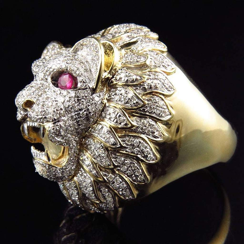 Gbell Men Fashion Punk Ring - Lion Head Gold Filled Natural Ruby Gemstone Diamond Ring for Men Boys Jewelry Gifts (8) by Gbell (Image #2)
