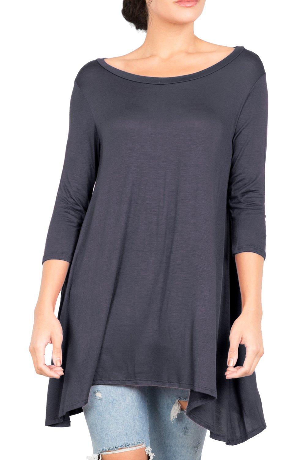 Love In T2411 3/4 Sleeve Round Neck Relaxed A-Line Tunic T Shirt Top Coal Black S