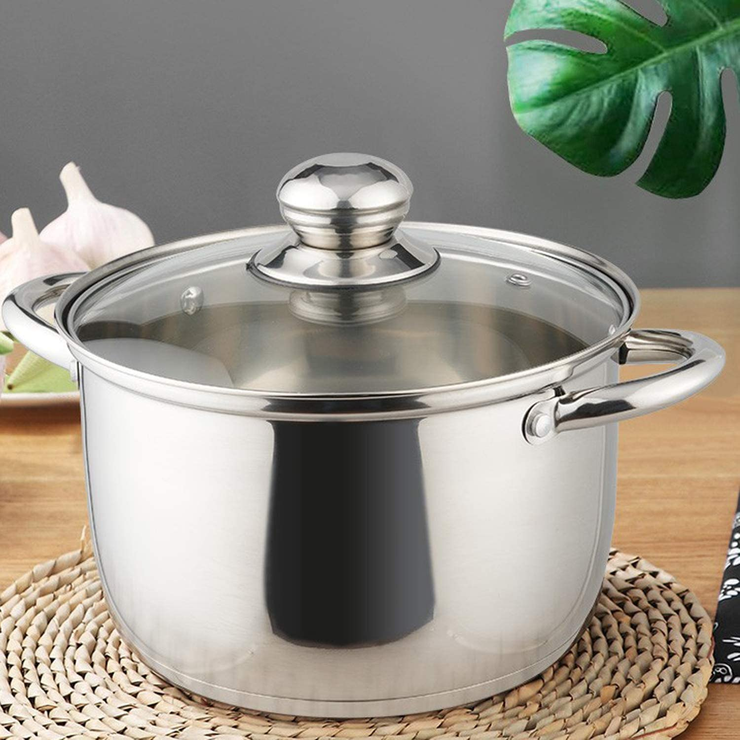 Double Happiness 3.5 Quart Stainless Steel Stock Pot Soup Pasta Pot with Lid Non Toxic /& Easy Clean-Silver Heat Proof Handles