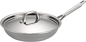 Anolon 30830 Triply Clad Stainless Steel Frying Pan / Fry Pan / Stainless Steel Skillet with Lid - 12.75 Inch, Silver