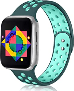 ilopee Band Compatible with Apple Watch 44mm Series 6 Series 5 4 - Breathable Silicone Sport Strap Wristbands Accessories iWatch 42mm Series SE 3 2 1 Women Men, Midnight Turquoise/Aurora Green, S/M
