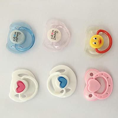 Zero Pam 6 pcs Magnetic Pacifier, Used for Reborn Baby Doll, Tiny Acrylic Dummy Pacifiers for Replace Newborn Reborn Doll Kits Supplies 6 coulours Available: Toys & Games