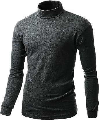 xpril Hombre Interlock algodón suave Knit Mock cuello con manga larga camisas
