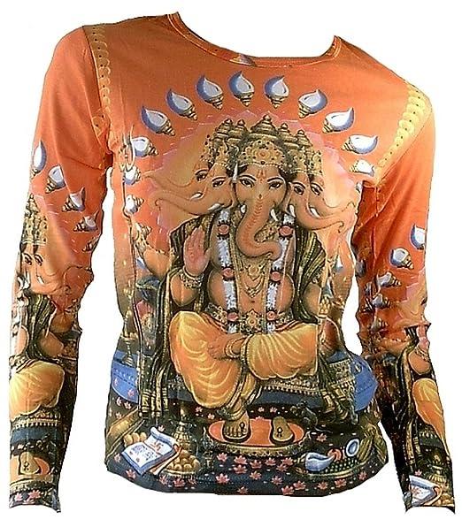 TICILA Mujer Camiseta de Manga Larga Naranja Popular Hindu Deity God Lord Ganesh Ganesha Psychodelic Goa