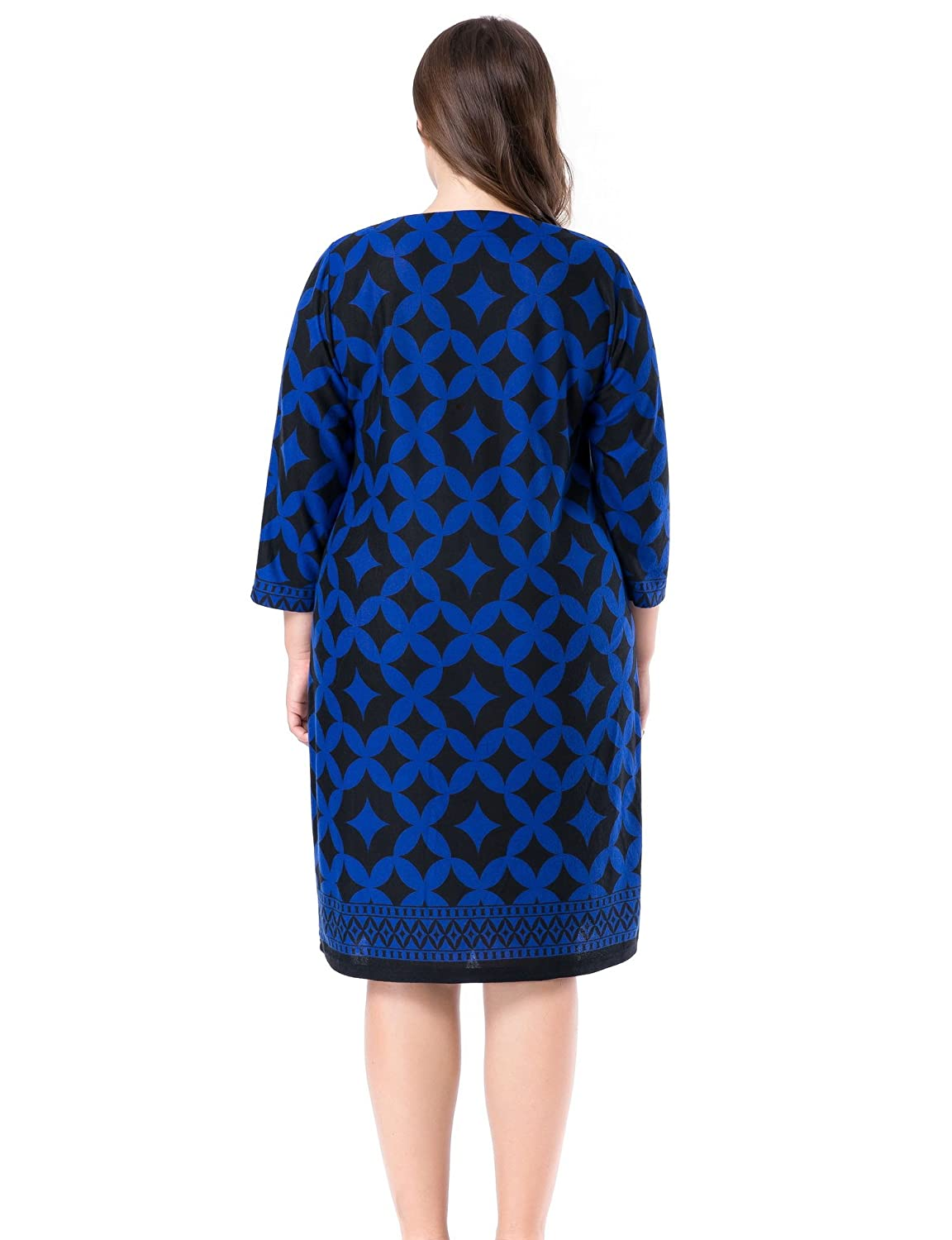 3f832c9dcae Chicwe Women s Cashmere Touch Printed Plus Size Shift Dress US12-28   Amazon.ca  Clothing   Accessories