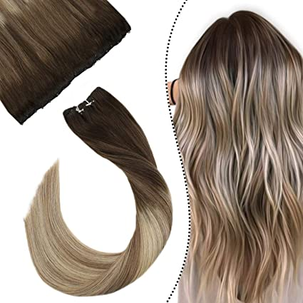 Ugea EZ Hair Weft con Micro Beads Invisible Secret Double Weft 16 Pulgadas Humano Brasilieno Balayage Marron y Rubio 50 Gramo/Trama