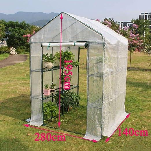 XY & CF-Flower casa Invernadero PE Tela de Malla Todo Acero Esqueleto Doble Puerta Invernadero jardín (280140195 cm): Amazon.es: Jardín
