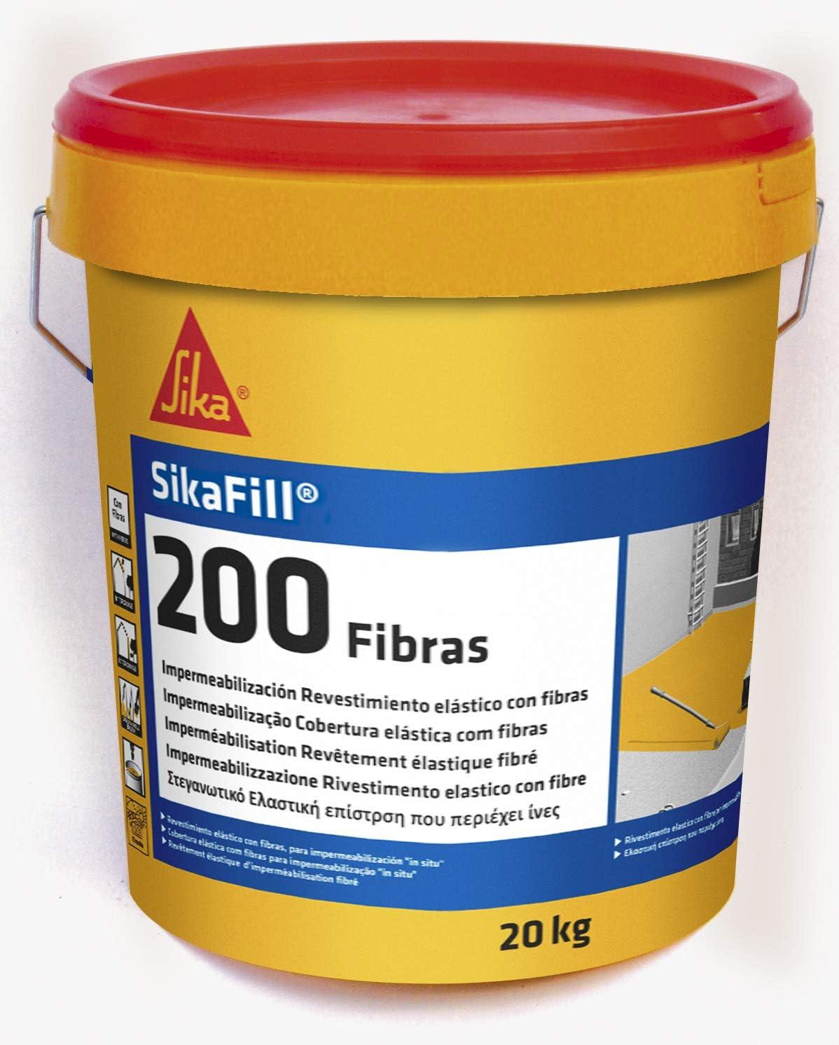 Sika 160649 Fibras Pintura elástica para impermeabilización, Gris, 20kg
