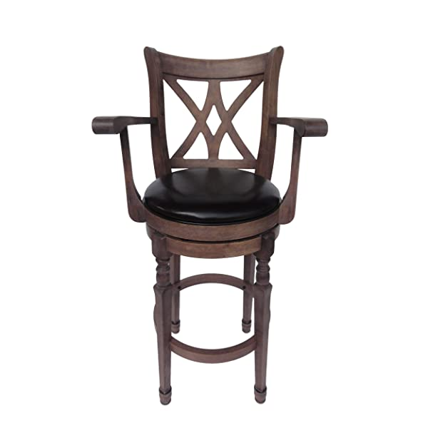 Brown Traditional Leather 30.5 Inch Swivel Barstool with Arms, Chocolate Brown