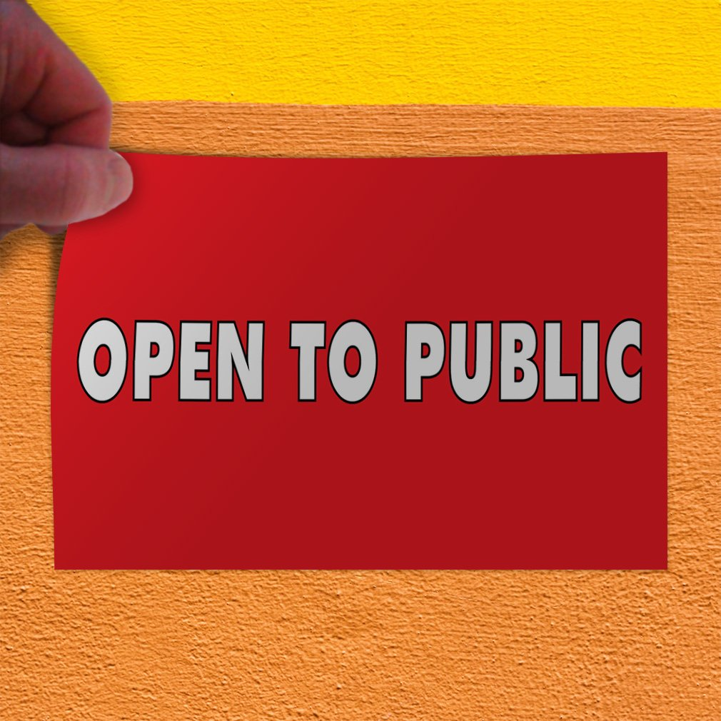 One Sticker Decal Sticker Multiple Sizes Open to Public Business Open to Public Outdoor Store Sign Red 69inx46in