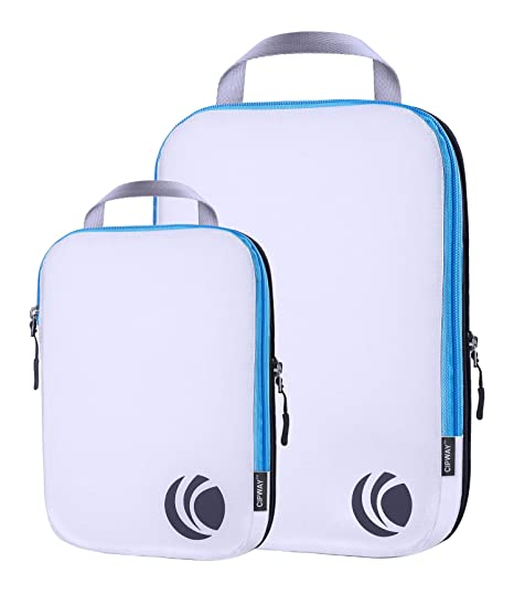 0e53f58a5ca8 Ultralight Compression Packing Cubes Travel Organizer for Carryon  Luggage/Backpack-White 2pcs Set